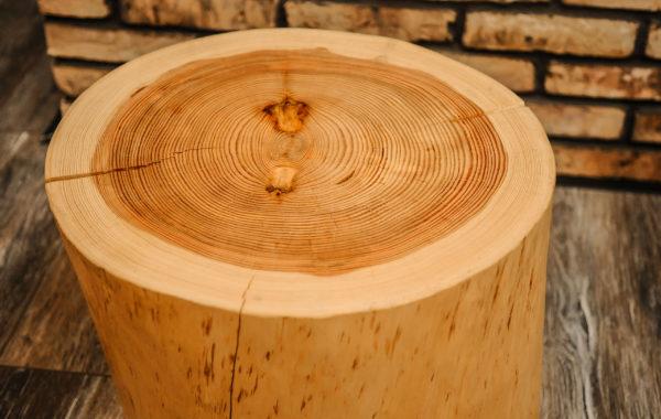 Stolík z kmeňa borovice